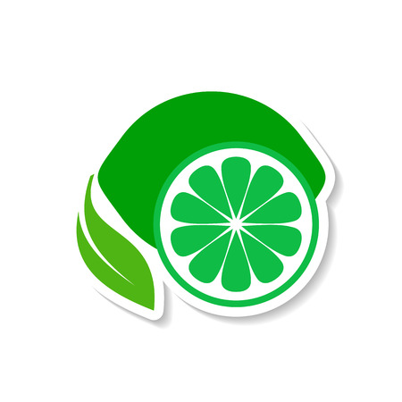Green simple lime fruit icon label with shadow
