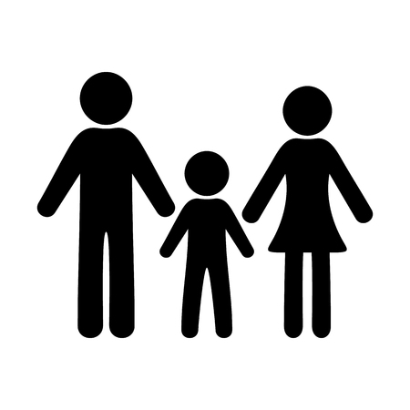 priority: Black simple family icon with one boy