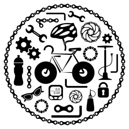 oilcan: Black bike tools equipment and accessories icons