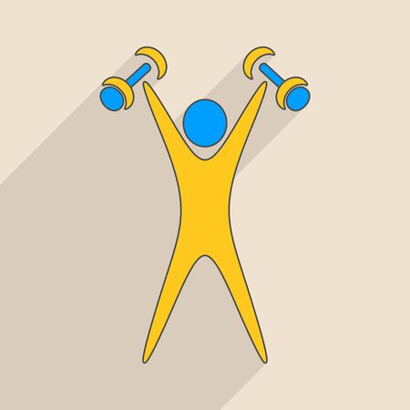 exercising: Blue and yellow exercising figure with dumbbells