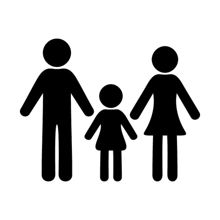 Black simple family icon with one girl