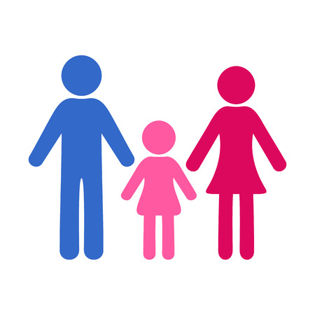 one girl: Colorful simple family icon with one girl Illustration