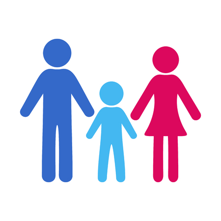 priority: Colorful simple family icon with one boy Illustration