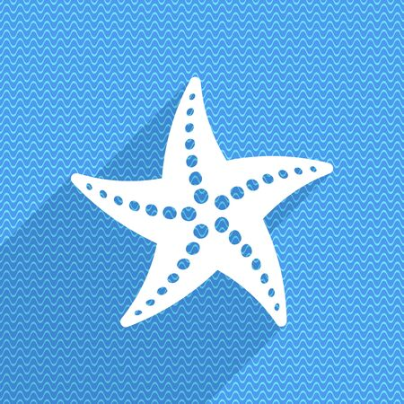 finger fish: summer time card with white starfish icon