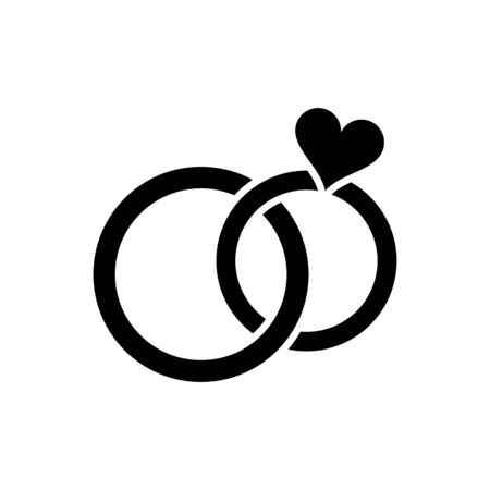 pair: Black simple wedding rings pair icon isolated Illustration
