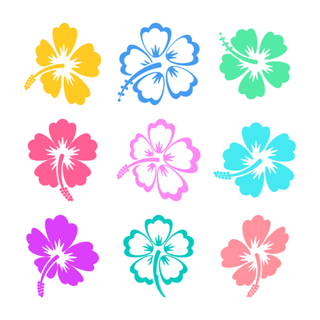hibiscus: Colorful hibiscus silhouette icons on white background
