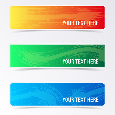 Colorful banners with brush strokes and shadows