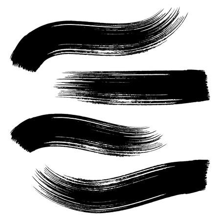 grunge brush: Various black brush strokes collection