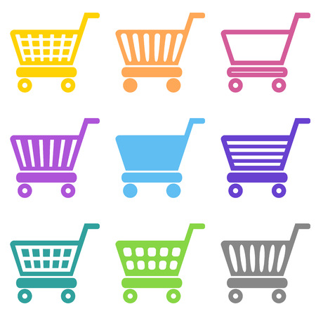 web shopping: Colorful vector shopping cart icons collection isolated