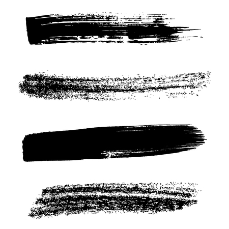 Various vector grunge black brush strokes collection
