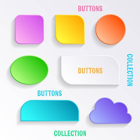 ios: Modern vector blank colorful various buttons with shadows