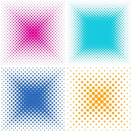 spot the difference: Colorful vector abstract backgrounds collection with halftone effect
