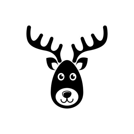 renna: Semplice nero vettore renne volto icona di natale Vettoriali