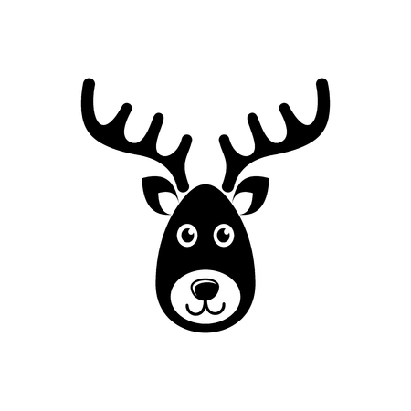 Simple black vector reindeer face christmas icon
