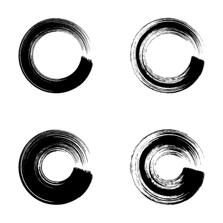 four objects: Black vector grunge circle brush strokes collection isolated Illustration