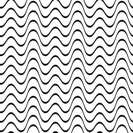 黒の不規則な波線のシームレスなパターン ベクトル図
