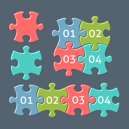 jigsaw: Vector colorful retro jigsaw puzzle pieces with numbers