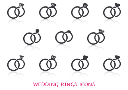 Vector wedding rings icons big set with reflection