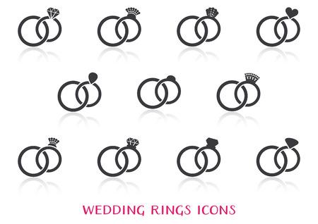 anillo de boda: Vector de los anillos de boda Iconos grandes del conjunto con la reflexión