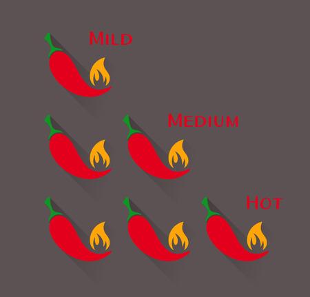 mild: Vector red chilli peppers mild medium hot scale