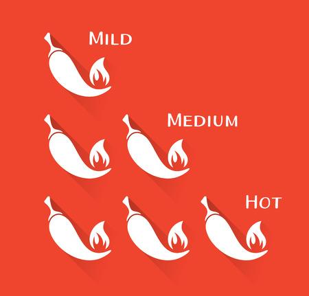 chili pepper: Vector white chilli peppers mild medium hot scale