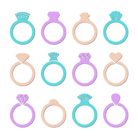 wedding ring: Colorful vector engagement or wedding ring icons isolated