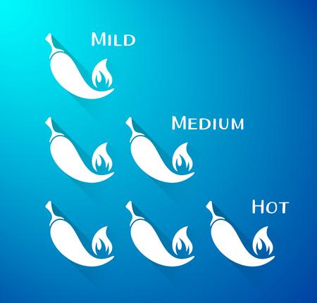 mild: Vector chilli peppers mild medium hot scale