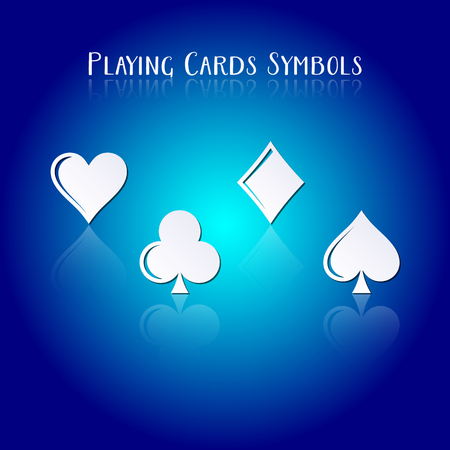 playing card symbols: Vector playing card symbols with transparent reflection