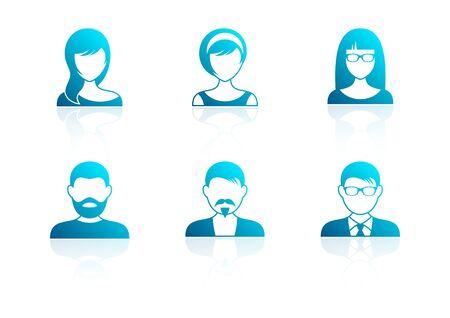 Bleu modernes hommes et femmes icônes avec la réflexion Banque d'images - 50430504