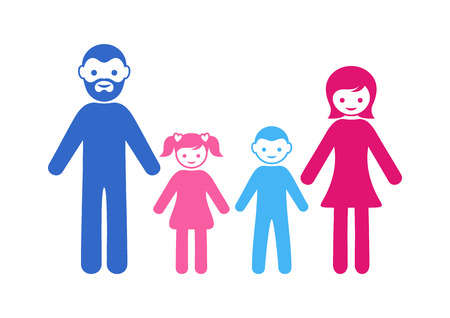family with two children: Colorful vector simple family icon with two children Illustration