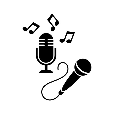 entertaining: Black vector microphone icons isolated on white Illustration