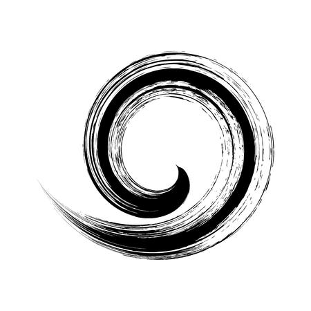 Black vector single brush stroke spiral element isolated Illustration