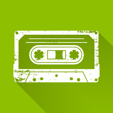 White retro scratched vector cassette silhouette icon isolated