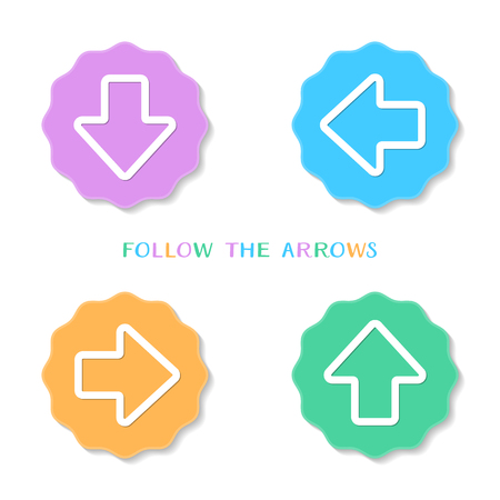 left right: Colorful vintage up down left right arrow buttons Illustration