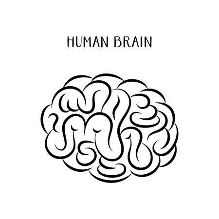 cerebro blanco y negro: ilustración abstracta negro icono del vector de cerebro humano Vectores