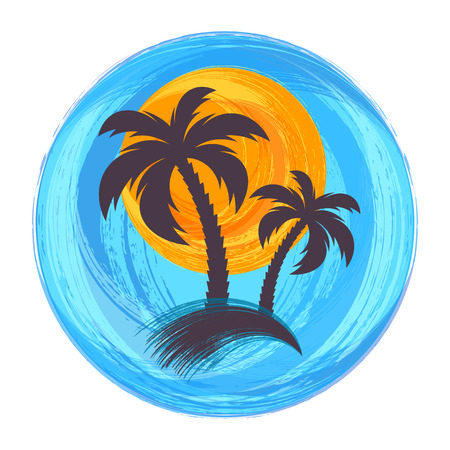 Sun and palm trees brush strokes vector illustration