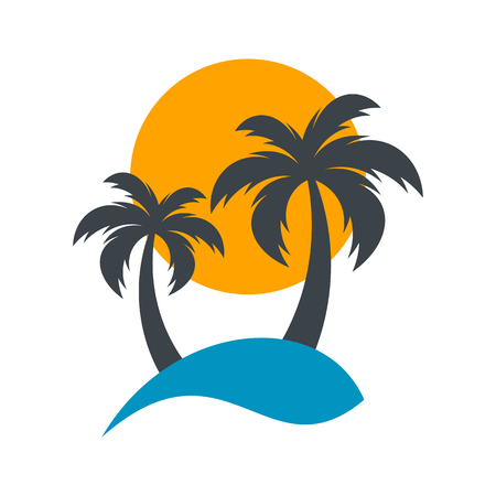 Sun and palm trees summer beach vector illustration