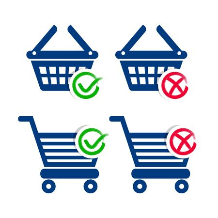 add to basket: Shopping basket and cart add or remove icons Illustration