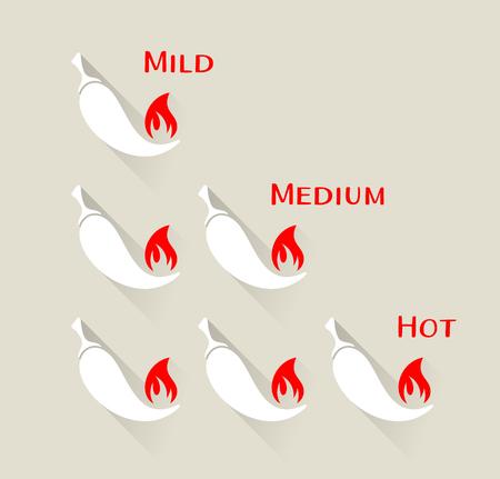 capsaicin: Vector chilli peppers icons mild medium hot scale Illustration