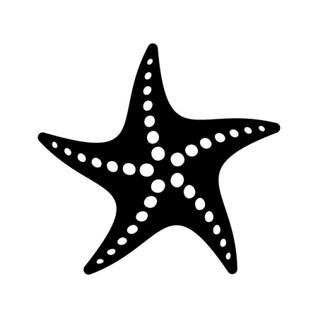 finger fish: Black vector simple starfish icon isolated on white Illustration