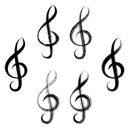 bass clef: Black vector treble clef icons brush strokes design