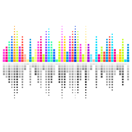 digital music: Creative colorful digital equalizer design music background Illustration