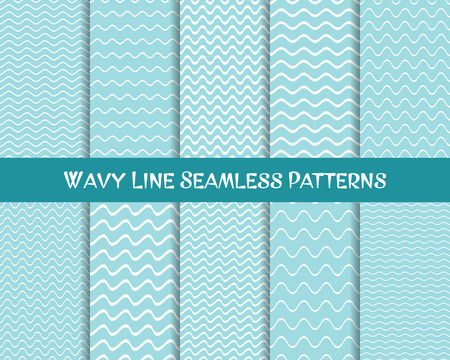 Vector wavy line seamless patterns blue and white