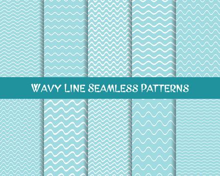 Vecteur ondulé ligne modèles sans couture bleu et blanc Vecteurs