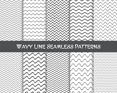 벡터 물결 선 원활한 패턴 회색과 흰색 일러스트