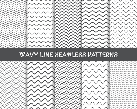 striped lines: Vector wavy line seamless patterns gray and white