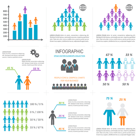 demographic: Vector infographic people icons graphs charts demographic collection
