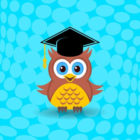 graduacion caricatura: Búho lindo con el sombrero de graduación en el fondo de medios tonos Vectores