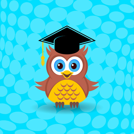 Cute owl with graduation hat on halftone background Illustration
