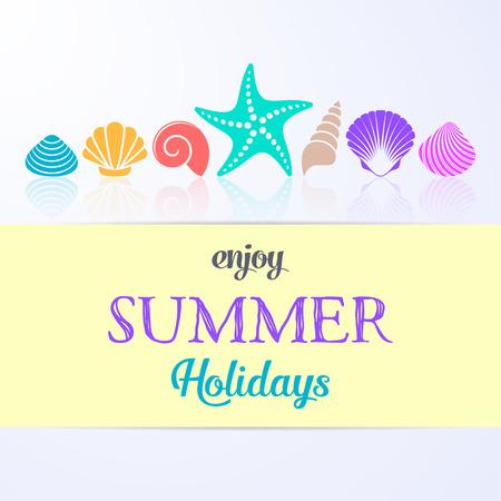 enjoy: Vector enjoy summer holidays card with sea shells